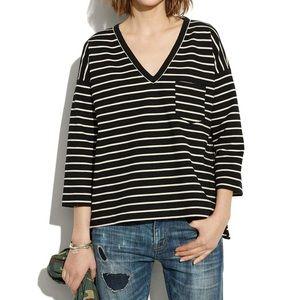 NWOT Madewell Black & White Striped Quarter Sleeve